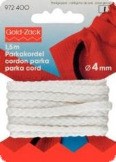 Sznurek do parki marki GOLD-ZACK, 4mm, 1,5m, biel